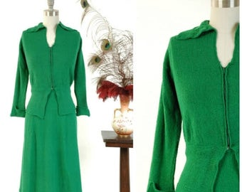 SALE - Vintage 1940s Sweater Set - Vivid Kelly Green Knit Wool Boucle 40s Zip Front Cardigan and Skirt Set