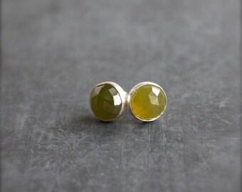 ON SALE Green Vessonite Stud Post Earrings Sterling Silver Gemstone 8mm Stone Metalwork Jewelry