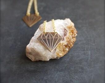 ON SALE Etched Brass Diamond Drop Earrings Arrow Point Long Gold Chain Dangle Geometric Modern Boho Jewellery