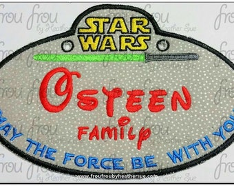 "Digital Embroidery Design Machine Applique Space Wars Stroller Name Tag  IN THE HOOP Project 4""-16"""