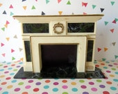 Vintage Dollhouse Miniature Furniture Marbled Living Room Fireplace Mantel
