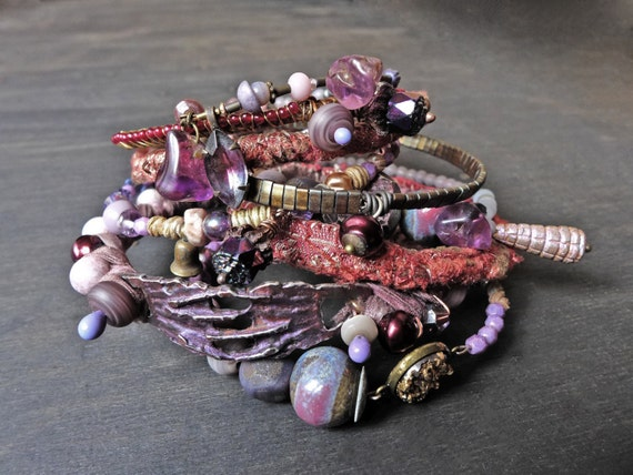 "Rustic bangle stack in plum purple. Beaded stitched textile bohemian bracelet set ""Chimerical"""
