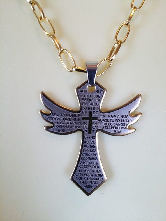 "GOLD CROSS NECKLACE stainelss steel pendant 18"" gold chain religious jewelry unisex statement"