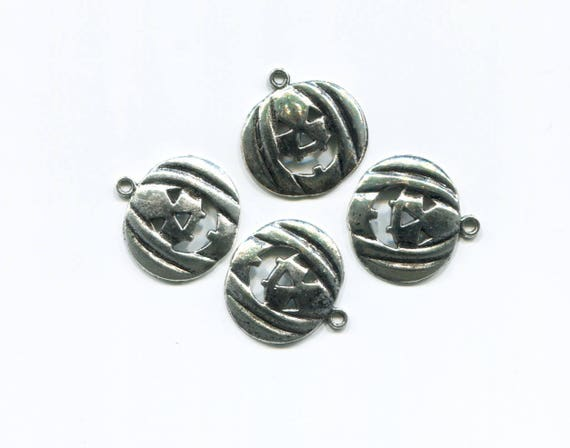 jacko lantern charms pumpkin charms halloween charms pumpkin pendants jacko lantern pendants halloween pendants 4 pc 25mm metal silver