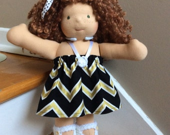 Black gold chevron party doll dress set 12 13 14 inch Waldorf doll, crocheted doll shoes, doll hair pretty, fits Cuddle doll, doll outfit
