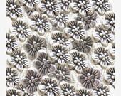 CLEARANCE  - Daisy Spacer Beads - 40 Silver Tone Metal Flower Spacer Beads - 10mm Daisy Flower Silver Pewter Metal Beads - BULK DESTASH