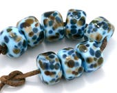 Blue Oslo Drops Handmade Glass Lampwork Beads (8 Count) by Pink Beach Studios - SRA (2264)