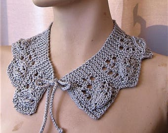 Leaf Lace Collar Hand Knit Retro Style Cord Ties Silver Cotton Lace Peter Pan Collar Necklace Accessory by Textilesone Ready to Ship