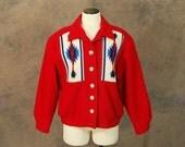vintage 80s Western Wool Coat - 1980s Southwestern Chimayo Style Wool Coat Red Wool Coat Sz M L