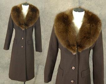 vintage 70s Princess Coat - 1970s Brown Wool Coat - Mink Fur Collar Coat Sz M