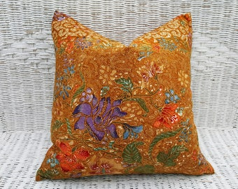 Bohemian Decorative Pillows, Boho Chic Pillow Cover, Brown Blue Orange Purple, Ethnic Throw Pillow, Global Style  PillowThrowDecor 18x18