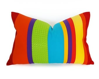 Colorful Striped Throw Pillows, Whimsical Color Block Pillow, Unique Rainbow Cushion Covers, Color Band Red Green Yellow Blue, 14x20 NEW