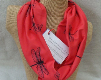 Red Dragonflies Jersey Infinity Scarf - Evan's Crew - help raise funds for the Evan T. Mandeville DIPG Research Fund at Dana Farber