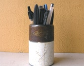 Brown White Metal Pencil Cup Round Pen Stand Makeup Brush Holder Minimalist Desk Organizer Industrial Office Mens Steampunk Gift