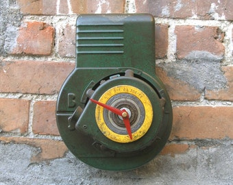 Green Clock, Metal Wall Clock, Rustic Decor, Upcycled Clock, Lawn Mower, Industrial Salvaged, gift for gardeners, mens gift, motor parts