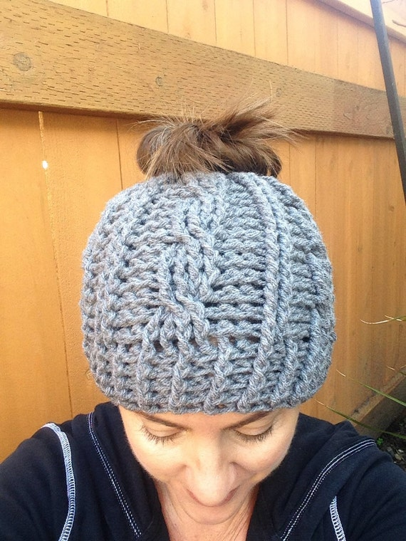 Messy Chunky Beach Waves Easy Tutorial: Items Similar To Adult Size Messy Bun Hat Chunky Cable