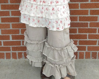 Linen Bloomers Ruffled Love with Pocket The Wild Raspberry