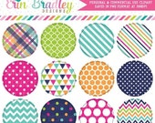 60% OFF SALE Summer Circles Clipart Pink Blue Green Orange Plaid Striped Triangle Chevron and Polka Dotted Patterns