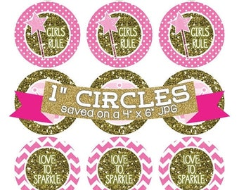 50% OFF SALE Pink Princess Crowns Digital Collage Sheet Bottlecap Images Gold Glitter Instant Download Bottle Cap Graphics One Inch Circle