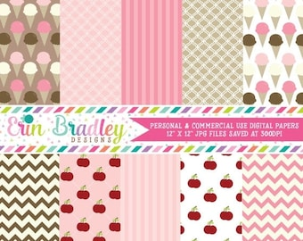 50% OFF SALE Digital Papers Pack Personal & Commercial Use Ice Cream Papers Instant Download