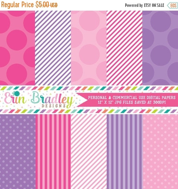 60% OFF SALE Digital Paper Pack Personal and Commercial Use Pink and Purple Polka Dots and Stripes