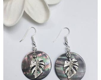Monstera Leaf and Shell Earrings