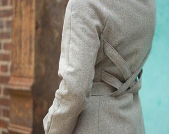 Women's wool melton gray winter coat