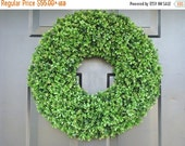 VALENTINES DAY SALE Xl Artificial Boxwood Wedding Wreath, Wedding Decoration, Wedding Decor, Boxwood Wreath, Church Door Decor, Hostess Gift