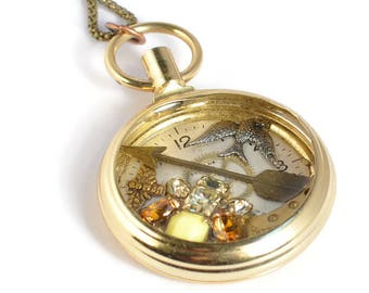 Birds and Bees Vintage pocket watch Necklace