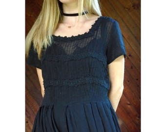 25% off Flash Sale . . . 50s Black Short Sleeve Crochet Lace Trim Calf Length Tea Dress - SMALL MEDIUM S M 4 6
