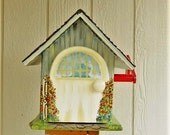 Handmade Mailbox Reserved for Terri , Hand Painted , Grey with Cream Trim
