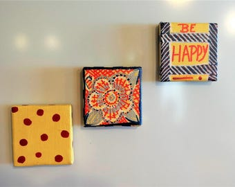 Set of Three Magnets , Hand Painted , Decoration for Your Refrigerator , Kitchen or Office