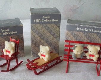 3 Vintage Avon TEDDY BEAR ORNAMENTS Lot Flocked Teddy Bears Red Metal Sled-Rocking Chair-Bench with Original Boxes