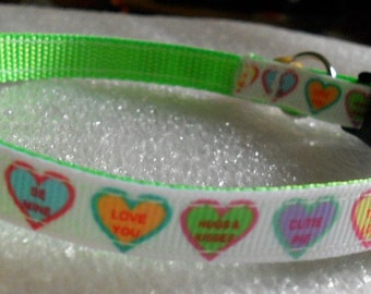 Valentine's Day Conversation Hearts Cat Collar,  Kitten Collar, Breakaway Collar - girl cat, boy cat, Valentine's Day