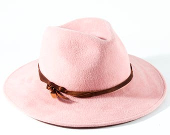 Wide Brimmed Fedora Women's Hat Spring Fashion Accessories Women's Fedora Hat Western Style Hat Baby Pink Pastel Pink Light Pink