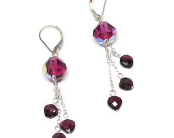 garnet faceted hearts fuschia crystal chain dangle earrings