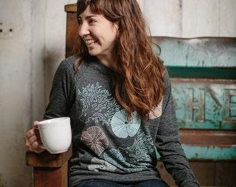 HOLIDAY SALE women's pullover sweatshirt, women's sweatshirt, sea urchins, coral, ocean inspired