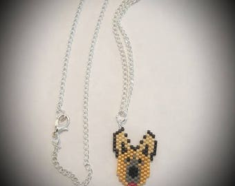 German Shepard Necklace - Handmade - Fine Beaded  - Ready To Ship