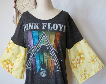 Pink Floyd Dark Side Of The Moon Vintage Floral Off The Shoulder Upcycled Prism Tshirt Top Shirt Womens Classic Rock Hippie Boho Festival