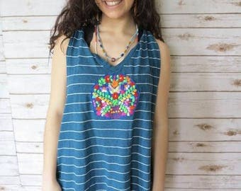 Striped Mexican Embroidered Upcycled Tunic Layering Oversized Tshirt Tank Top Shirt Hippie Boho Festival Size 2XL