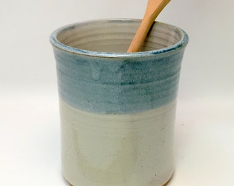 Handmade Ceramic Kitchen Utensil Jar or Canister - Ivory and Antique Blue