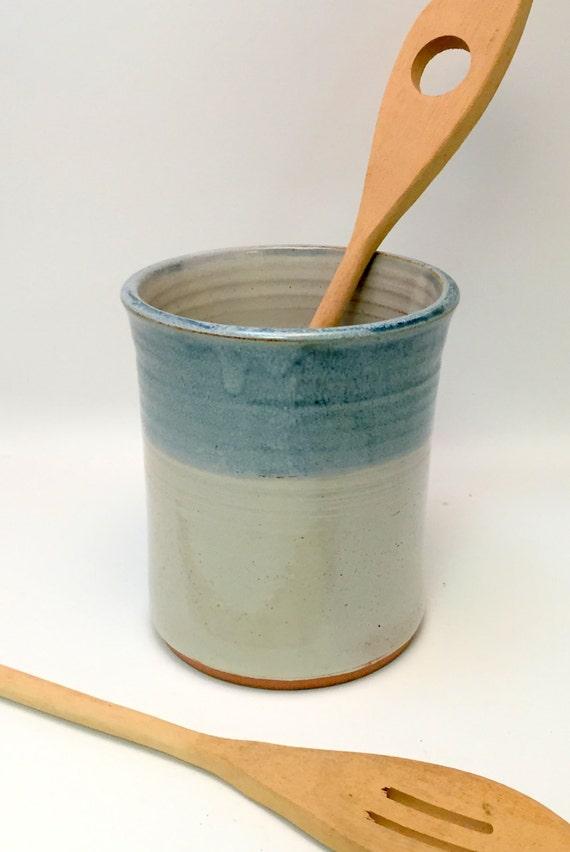 Handmade Ceramic Kitchen Utensil Jar or Canister - Ivory and Antique Blue