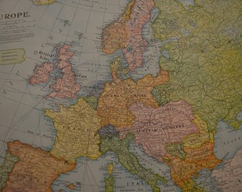 1904 LARGE Map Europe - Vintage Antique Map Great for Framing 100 Years Old