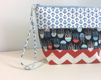 Medium Patchwork Project Bag  - Seaside theme prints