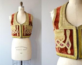 Turkish Ottoman vest | 1960s velvet embroidered waist coat | Jimi Hendrix ethnic folk vest