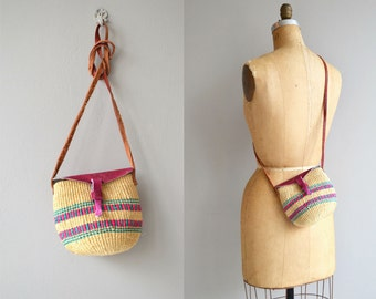 Xaibe sisal bag | vintage sisal bag | cross body sisal purse