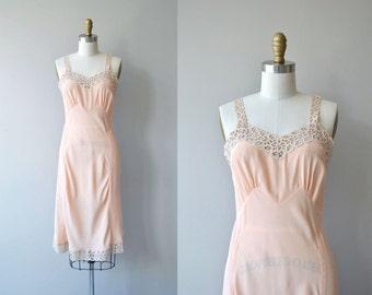 Trimmed Eyelet slip | 1940s rayon silk slip | vintage 40s lingerie