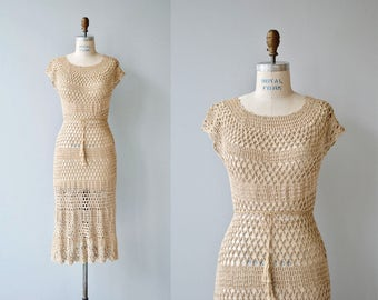 Sundial crochet dress | vintage 1970s crochet dress | 70s cotton crochet dress