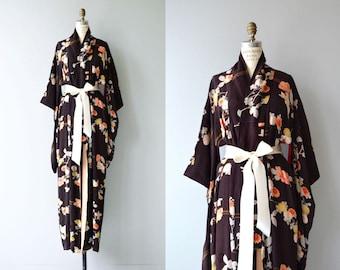 Aki floral silk kimono | antique 1920s silk kimono | vintage 20s kimono robe