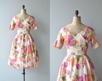 Di Padova silk dress | vintage silk 1950s dress | floral 50s skirt